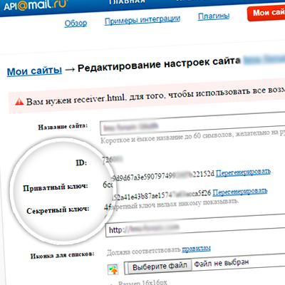 Системные данные сайта в Платформа@Mail.Ru