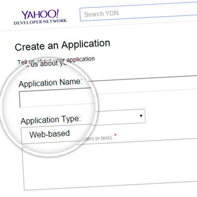 1. Регистрация приложения Yahoo!
