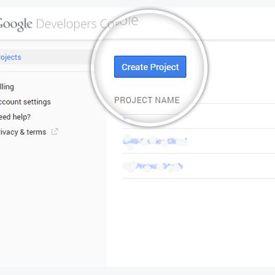 1. Регистрация проекта Google